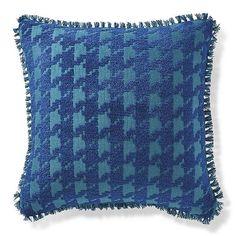 Houndstooth Fun Indigo Outdoor Pillow