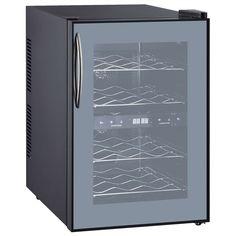 CLIMADIFF Weinkühlschrank DUOVINO/1, 12 Flaschen Conservation, Cd Player, Double Vitrage, Thermometer, Bordeaux, Lockers, Locker Storage, Kitchen Appliances, Black Interiors