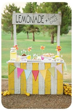 How super cool is this lemonade stand?! I'd love to do this for a kids party or even a wedding candy table. So fun and colorful.