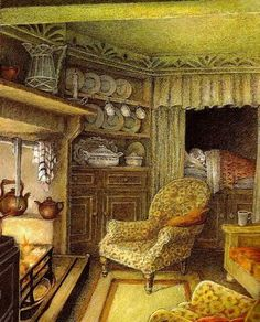 "Inga Moore illustration from the book Wind in the Willows by Kenneth Grahame, ""Winter in Ratty's home"" Grahame. Children's Book Illustration, Book Illustrations, Cozy Cottage, Beatrix Potter, Woodland, Fantasy Art, Book Art, Fairy Tales, Drawings"