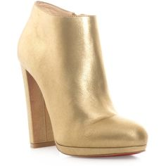 CHRISTIAN LOUBOUTIN Rock and gold ankle boots ($968) ❤ liked on Polyvore featuring shoes, boots, ankle booties, booties, gold, short boots, bootie boots, christian louboutin boots, block-heel ankle boots and gold boots