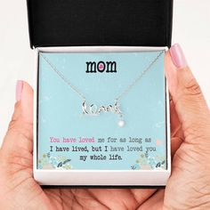 This necklace is a heartfelt gift to show your mother how much she means to you. The necklace is available is silver and gold with prices starting at $39.95. The message card says: you have loved me for as long as I have lived, but I have loved you my whole life. #lovemomnecklace #uniquemomgift #sweetmomquotes Mothers Day Special, Mothers Love, Mother Day Gifts, Message Mom, Message Card, Mom Jewelry, Bling Jewelry, Jewelry Gifts, Jewelry Necklaces