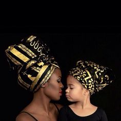 This mommy/daughter head wrap look is so glamorous and beautiful! African Beauty, African Women, African Fashion, Ghanaian Fashion, African Style, Nigerian Fashion, African Head Wraps, My Black Is Beautiful, African Attire