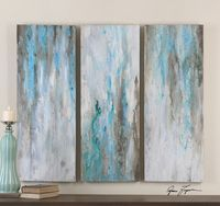 Abstract Painting Blue/Grey - Set of 3