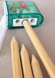 Make your own knitting needles.  Wooden  dowels, pencil sharpener, sand paper, beads.