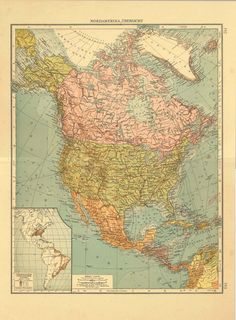 1922 Old Map of North America Central America by CarambasVintage, $38.00