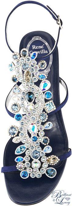 Brilliant Luxury ♦ Rene Caovilla Crystal Jeweled Block-Heel Sandal