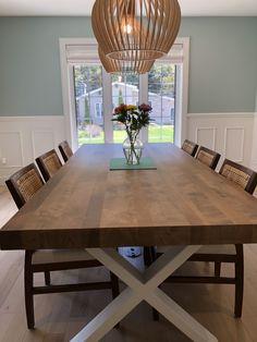 TABLE ORLÉANS - MERISIER - DORÉE - FINI LISSE - 96'' X 42'' - 3'' ÉPAIS #lusine #table #orleans #merisier #doree #pattex Orleans, Tables, Dining Table, Rustic, Furniture, Home Decor, Mesas, Country Primitive, Decoration Home