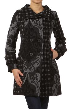 Black Printed Long Sleeve Buttoned Coat