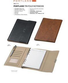 A5 Portland Tri-Fold Notebook  Portland Tri-Fold Notebook Washable Cream PU Lining Push Button Closure Refillable Pen Loop 6-Ring Binder Tri-Fold Notebook Business/ Credit Card Pockets Cream Paper – A5 Size Paper Notebook Included Brand by Embossing Dimensions : 210 × 148 mm (L x W) Colours : Black or Tan