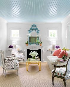 Every beach house should have a sky blue ceiling. Full home in our newest issue, #OnStandsNow. (: James Merrell | Design: @toddaromano) #instadesign #homedecor