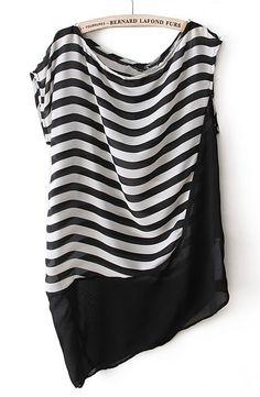 Black White Striped Sleeveless Asymmetrical Blouse - Sheinside.com