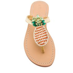 Mystique Pineapple Sandals found on Polyvore featuring shoes, sandals, mystique shoes, metallic slip on shoes, leather upper shoes, slip-on shoes and metallic sandals