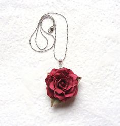 Polymer clay red rose pendant  Flamenco by SilverSeagullArt