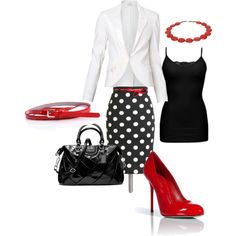 Black, white and red pencil skirt office attire. by klfreder on Polyvore featuring polyvore, fashion, style, BKE, Witchery, Sergio Rossi, Coach, Kazuri and Zenggi