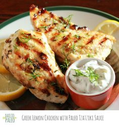 Greek Lemon Chicken w Dairy Free Tzatziki Sauce | Daileo Paleo: Bright lemony garlic chicken grilled to be served with a creamy, but diary-free, Tzatziki sauce is my kind of dinner. Just a bit of dill and extra cucumber seal the deal. Healthy, gluten-free, and diary-free, Greek Lemon Chicken is an easy weeknight dinner. Fire up the grill!