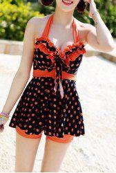 $17.34 Cute Women's Halterneck Polka Dot Ruffle Two-piece Swimsuit