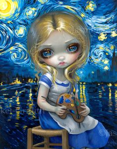 """Alice in a Van Gogh Nocturne"" 11x14"" Original Acrylic Painting $4200 SOLD - prints & canvases from $9.99"