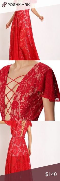 The Jetset Diaries Piazza Maxi in Ruby Stunning gorgeous lace wrap dress, lined with half slip.  Sexy lace up back may be turned around and worn in front for a seductive twist - see photo 2.  The color on this is perfection!  Originally $288 - please no trades or lowball ✨! The Jetset Diaries  Dresses Maxi