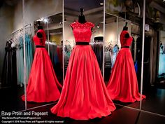Red Two Piece Soft Satin Ball Gown-Crop Top detailed with Red Pearls-Cap Sleeves-116DJ017960