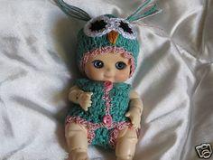 "Crochet Owl set for BJD Nappy Choo by Soom or 4""-5"" OOAK clay baby sculpt doll T"