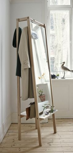 The valet stand gets a hip style upgrade, Home Accessories, Stine H Andersen for Skagerak oak Push mirror, Diy Furniture, Furniture Design, Multifunctional Furniture, Danish Furniture, Small Furniture, Nordic Furniture, Stationary Storage, Floor Standing Mirror, My New Room