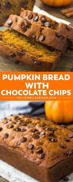 This pumpkin bread with chocolate chips is moist, tender and filled with warm spices. The perfect recipe for fall & impossible to resist! YellowBlissRoad pumpkin bread breafast dessert fall chocolatechips via 220183869267148711 Fall Dessert Recipes, Fall Desserts, Fall Recipes, Recipes Dinner, Recipes For Desserts, Picnic Desserts, Healthy Recipes, Bliss, Pumpkin Chocolate Chip Bread