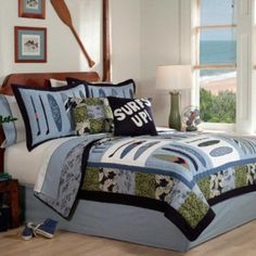 Catch a Wave Full/Queen Quilt and 2 Shams by Pem America  It is easy to find the perfect gift for lighthouse lovers when you know they love lighthouse home décor and accents that make them think of lighthouses.  Lighthouses are nostalgic, historic and adorable which is a great reason to find inspiration by this type of sea side home décor.   Lighthouse home décor can be used in any room of the home and is the perfect theme to center your home decoration around.