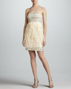 LOVE!  Now if there was only somewhere to wear it.  Reg. $1298 on sale for $317.80 ! Sue Wong Beaded Feather Strapless Dress #straplessdress #feathers #sequin #winterwhite