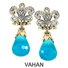 Vahan earrings made of all 14k gold, blue topaz and diamonds. Style # 42666GDBT…