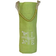 If it's not already obvious what's on our minds, this cylinder jute gift bottle bag will declare it for you. Bella Vita's wine bag in a divine citrus lime green color declares W-I-N-E, and its right! Whimsically sewn on with white beads it's no secret what's in the bags. Eco-friendly, sustainable, and reusable this bottle carrier puts the wine vibes out there and sets the mood at any soiree! #Wine #Green