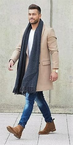 Smart boots perfectly combining with casual jeans and a white t-shirt, overlaid with a dark scarf and neutral coat Cheap Mens Fashion, Business Fashion, Overalls, Chic, Style, Shabby Chic, Swag, Classy, Rompers