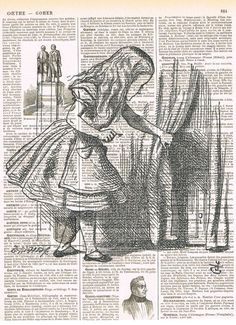 Alice in Wonderland Antique French Book Page