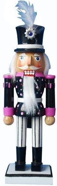 10 inch Nutcracker with Black, White and Pink Glitter Jacket - Retail - Nutcracker Ballet Gifts