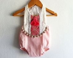 Pink/ Fuchsia Baby Girl Romper/ Linen Boho Chic Sunsuit/ Baby Clothes/ Pom Pom/ Size: NB, 0-3, 3-6, 6-12, 12-18,18-24 mths, 2T-4T