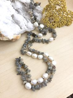 Labradorite and Freshwater Pearl Necklace Hand knotted