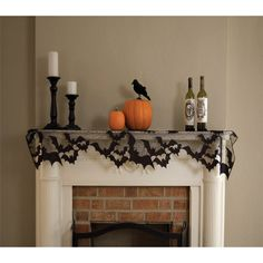 "60"" x 20"" Halloween Going Batty Black Lace Mantle Scarf"