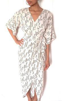 White Kimono Maxi Wrap Dress in Gray Feather