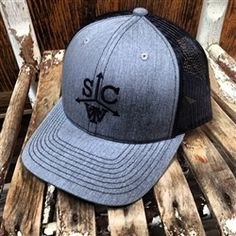 ff917a1db6b Southern Charm TW Cattle Brand Logo Trucker Hat Grey/Black Show Cattle,  Branded Gifts