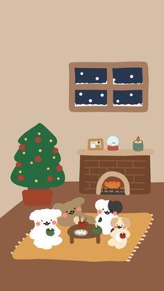 [똥강아지들] 크리스마스를 기다리며 : 네이버 블로그 Cute Pastel Wallpaper, Soft Wallpaper, Bear Wallpaper, Kawaii Wallpaper, Wallpaper Iphone Cute, Pattern Wallpaper, Wallpaper Backgrounds, Christmas Illustration, Cute Illustration