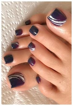 30 Best Toe Nail Designs and Pictures for Summer - Fashion - Toe nail art - . - 30 Best Toe Nail Designs and Pictures for Summer – Fashion – Toe nail art – - Pretty Toe Nails, Cute Toe Nails, My Nails, Purple Toe Nails, Black Toe Nails, Pretty Pedicures, Black Nail, Black White, Toe Nail Color
