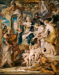 Peter Paul Rubens - The happy government of the queen outline to the Medici cycle.