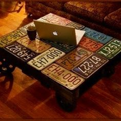 coffee table decorated with vintage license plates