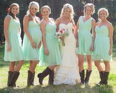 Summer Rustic Country Mint Green Mismatched Chiffon Short Bridesmaid Dresses with Mint Green Bridesmaid Dresses, Beach Wedding Bridesmaid Dresses, Western Wedding Dresses, Rustic Wedding Attire, Beach Wedding Attire, Mint Rustic Wedding, Dresses With Cowboy Boots, Country Relationships, Sunflower Centerpieces