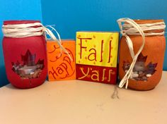Hand painted creations Custom orders Autumntrout17@yahoo.com Painted blocks fall mason jars