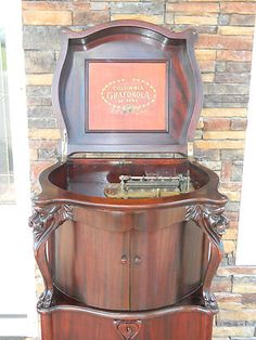 1915 Antique Music Box REGINAPHONE STYLE 240 COLUMBIA GRAFONOLA DELUXE LIONSHEAD