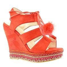 Angkorly Damen Schuhe Sandalen Espadrilles - Plateauschuhe - Offen - Perle - Geflochten - Bommel Keilabsatz High Heel 13 cm - Schwarz BO41 T 40 6kPXtVA6