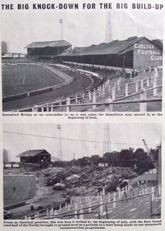 1972: Stamford Bridge's EAST STAND is brought down, as renewal of the of the stadium begins...