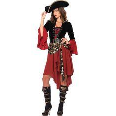 Purim adult costume women cruel caribbean seas captain pirate dress red black