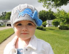 The Original- Girls Detroit Lions Crochet Newsboy Hat with Lions Patch and bow / NFL Baby / Football Baby / Item 300